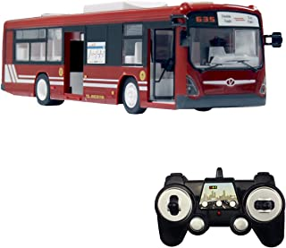 fisca RC Truck Remote Control Bus, 6 CH 2.4G Car Electronic Vehicles Opening Doors and Acceleration Function Toys for Kids with Sound and Light (Red)