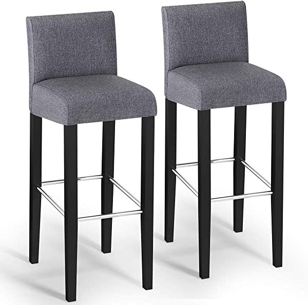 COSTWAY Bar Stool Modern 40 Contemporary Bar Stool With Height Fabric Padded Backrests And Seats Barstools With Solid Wood Legs Pub Bistro Kitchen Dining Side Chair Gray Set Of 2