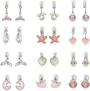 PinkSheep Clip On Earrings for Little Girls, Mermaid Earrings for Kids, 12 Pairs, Best Gift