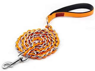 S-ETOVUS 4FT Dog Leash Metal Dog Chain,Heavy Duty Strong Comfortable Soft Padded Handle for Large Breed Dogs, Sturdy Anti-...
