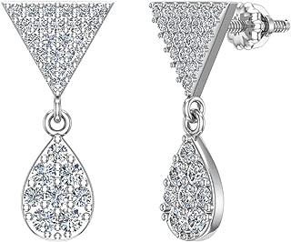 Diamond Dangle Earrings Tear Drop Pattern Cluster Triangle Top 14K Gold 0.72 ctw (G,SI)