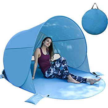 BACKTURE Strandmuschel, Pop Up Strandzelt UPF 50+ UV Schutz 3 4 Personen Familien Sonnenschutz Strandzelt Selbstaufbauend Automatisch Schutzzelt