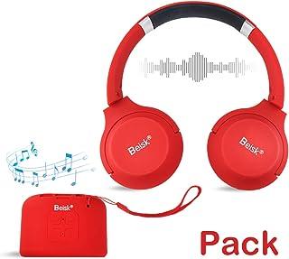 Beisk, Pack Mini Altavoz Bluetooth Portátil + Auriculares Bluetooth, con 8-10 Horas de Reproducción, Sonido Estéreo 360º, Radio FM, TWS, Ideal para Camping, Playa, Viaje, Fiesta, Hogar, Color Rojo