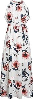 BerryGo Women's Chic Sleeveless Backless Halter Floral Print Split Maxi Dress