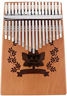 17-Key Kalimba Mahogany Thumb Piano with Maple Leaf Sound Hole Natural Mini Keyboard Musical Instrument