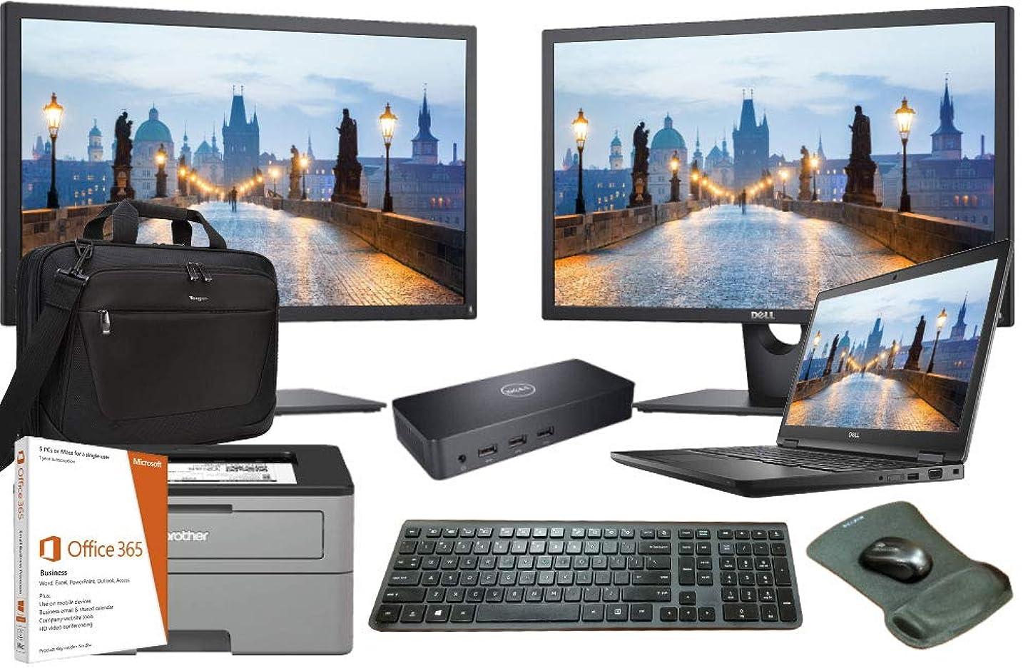 Latitude 5590 Business Laptop Bundle, Intel i7-8650U Quad Core, 16GB RAM, 1TB SSD, Windows 10, Office 365, Printer, Dual FHD Monitors, Docking, Keyboard, Mouse, 3 Years Warranty