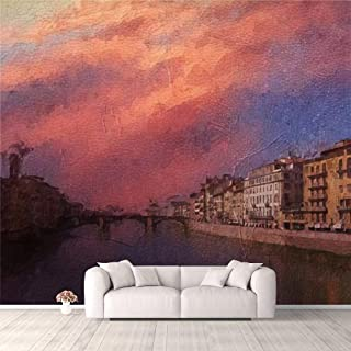Modern 3D PVC Design Removable Wallpaper for Bedroom Living Room Oil painting of the view down the river Arno on a summers...