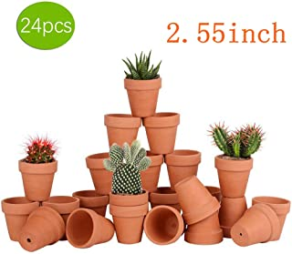 24pcs Small Mini Clay Pots, 2.55`` Terracotta Pot Clay Ceramic Pottery Planter, Cactus Flower Terra Cotta Pots, Succulents Nursery Pots, with Drainage Hole, for Indoor/Outdoor Plants, Crafts,Wedding