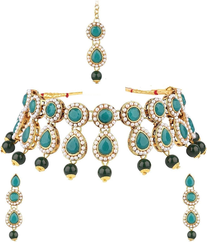Efulgenz Indian Jewelry Choker Kundan Crystal Necklace Earrings Maang Tikka Head Chain Bollywood Wedding Bridal Set
