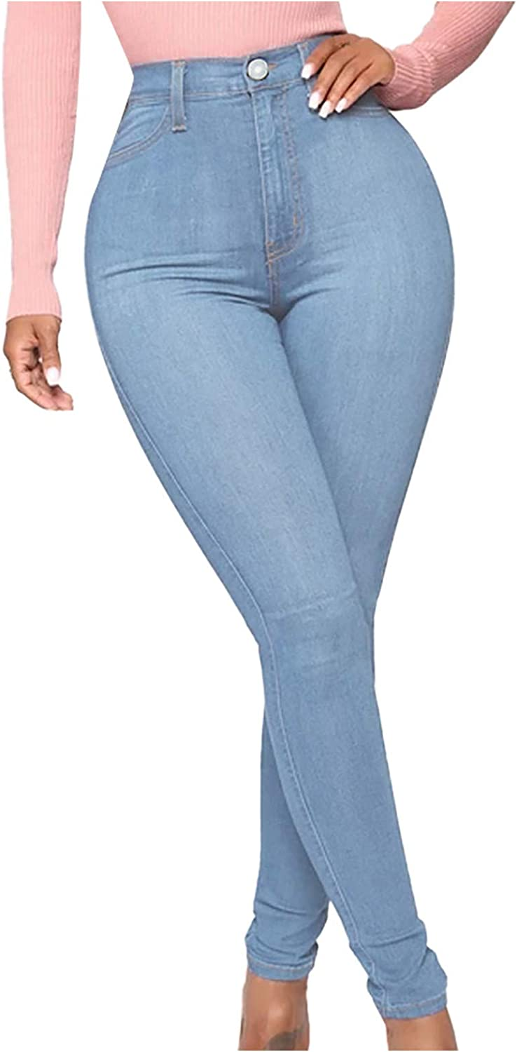 LONEA Women's Solid Color Blue Jeans Slim Fit Stretchy Skinny Denim Pants with Pockets