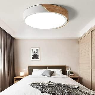 NOVO Light Ceiling Light Dimmable 15inch Modern Minimalist LED Round Shaped Wood & Metal & Acrylic Flush Mount Ceiling Light White
