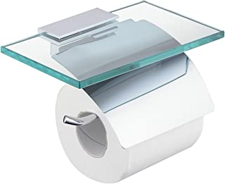 Hiendure Toilet Paper Holder with Shelf, Brass Lavatory Tissue Holder with Mobile Phone Storage Rack and Lid,Chrome