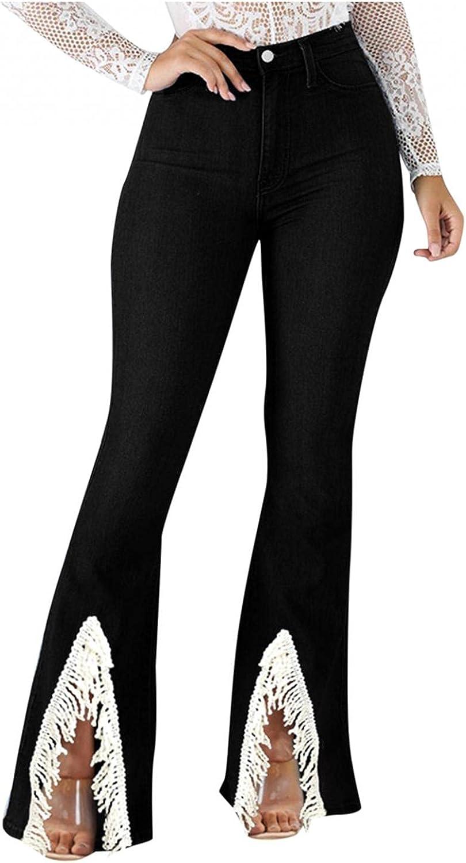 FUNEY Bell Bottom Jeans for Women Juniors Plus Size Front Split Fringe Hem Distressed Ripped Boyfriend Skinny Jeans Pants
