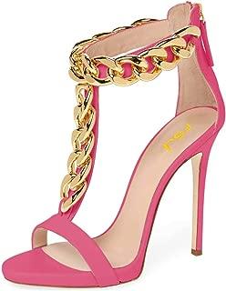 Women Golden Open Toe Ankle Straps Sandals High Heels Pumps Stilettos T-Straps Metal Chain Shoes Size 4-15 US