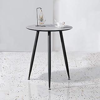 GOLDFAN Petite table de salle à manger ronde moderne avec pieds en métal pour la maison et le bureau, Ø 60 x 75 cm (effet ...