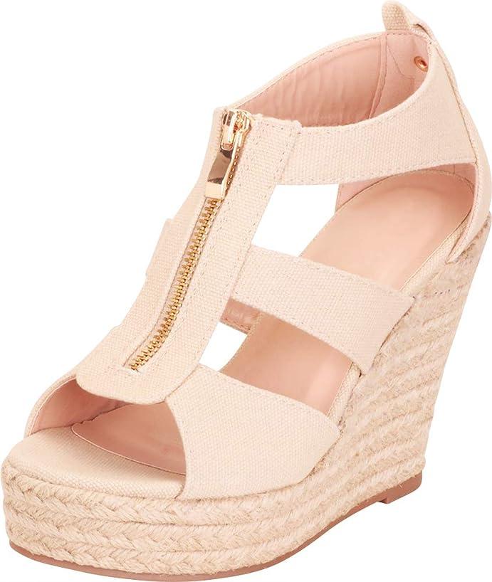 Cambridge Select Women's Open Toe Cutout Caged Zipper Espadrille Chunky Platform Wedge Sandal