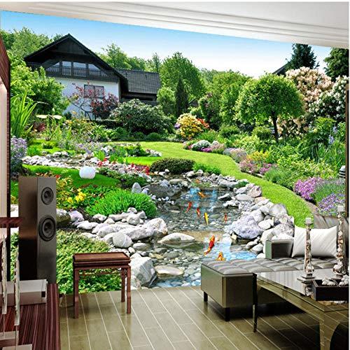 Papel tapiz fotográfico 3D paisaje natural gran Mural jardín estanque de peces papel tapiz de fondo para sala de estar dormitorio restaurante 400x280cm(157x110 inch)
