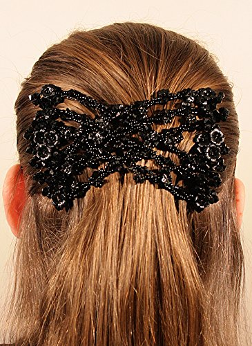 Mebella Women Magic Beads Hair Clips Stretchy EZ double comb...