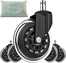 Office Chair Rollerblade Caster Replacement Wheels - Perfect Heavy Duty Furniture Tire Wheels - Safe Rollerblade Casters for Carpet, Hardwood, Tile, Laminate, and Stone - Universal Stem
