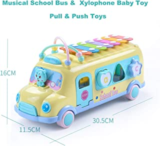 Amogo Multi-Functional Musical School Bus Toy-Early Learning Educational Toys, Puzzle Shape Knocking Piano, Push & Pull Vehicle Play Toy for Baby, Toddler (Yellow)