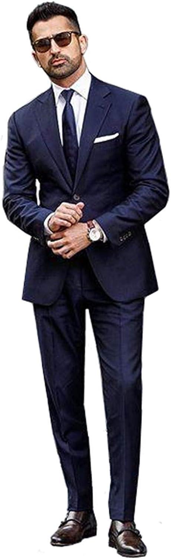 YZHEN Men's Suit Notch Lapel Two Button Slim Fit Jacket Pants Set Party Tuxedo