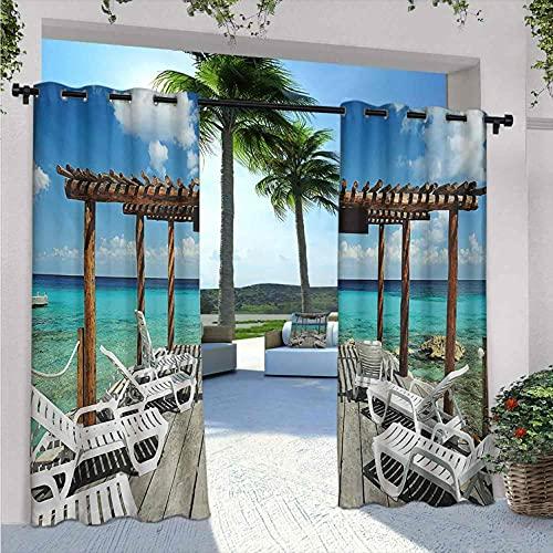 Trave- Tende impermeabili per interni ed esterni, per patio, lettini da spiaggia, paesaggio marino, con stampa in legno, adatte per padiglioni da terrazza, 200 x 172 cm, colore: Blu bianco e Pale Brow