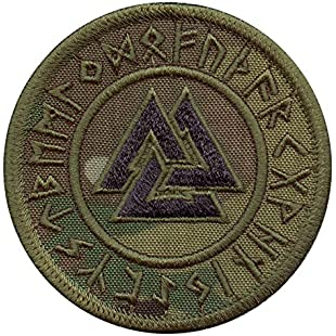 2AFTER1 Multicam Valknut Viking Norse Runic Heathen Pagan Odin God Rune Morale Tactical Fastener Patch