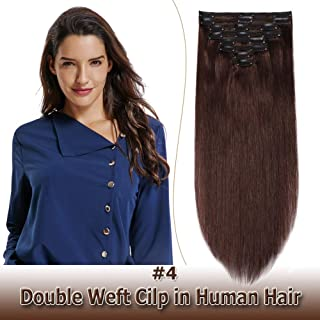 100% Remy Clip in Human Hair Extensions Double Weft Thick 10 Inch 110g 8pcs 18 clips on 8A Grade Soft Straight Hair (Medium Brown #4,10'')