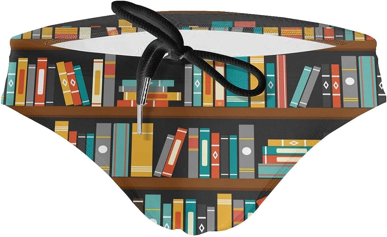 JIUPVI At the price of surprise Mens Swim Briefs Trunk Cartoon Library Shelf Book Sw Max 63% OFF