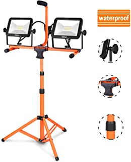 TACKLIFE Dual-Head LED Outside Work Light, 16.5ft Wire, Detachable Metal Telescopic Tripod, IP65 Rotating Waterproof Lamps, Suitable for Gardens, Courtyards and Sites HXLWL4B