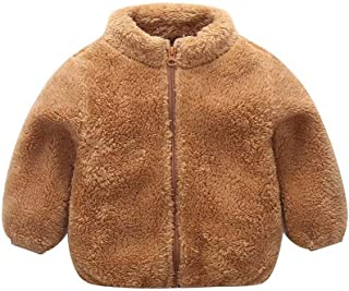 FAYALEQ Little Boys and Girls Fleece Jacket Standing Collar Children Solid Color Plush Warm Clothes