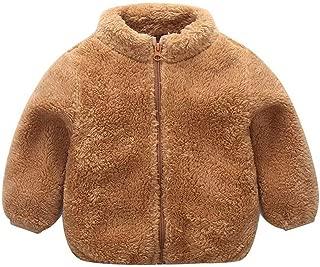 Toddler Baby Boys Girls Winter Fleece Jacket Coat Kids Solid Brown Zipper Thick Warm Outwear Outfits