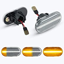 [1 par] OZ-LAMPE LED luces de giro marcadoras laterales (Parpadeo dinámico), luces indicadoras de dirección para Renaul-t Clio1 Clio 2 Megane Megane 1 Kangoo Laguna 1 Twingo (Transparente)