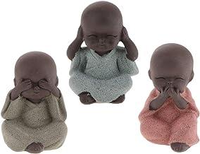 Flameer 3pack Cute Mini Monk Buddha Tea Pet Figurine Statues Zen Garden Tea Tray Decoration Crafts