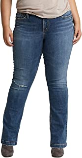 Silver Jeans Co. Women's Plus Size Elyse Relaxed Fit Mid Rise Slim Bootcut Jeans