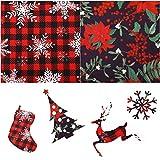 2 Fogli 35,4 x 35,4 Pollici Tessuto Scozzese di Bufalo Natalizio Tessuto Cotone Scozzese Fiocco di Neve Natalizio con Motivo a Bacche Tessuto a Tema Natalizio Stampato per Natale Casa Decor