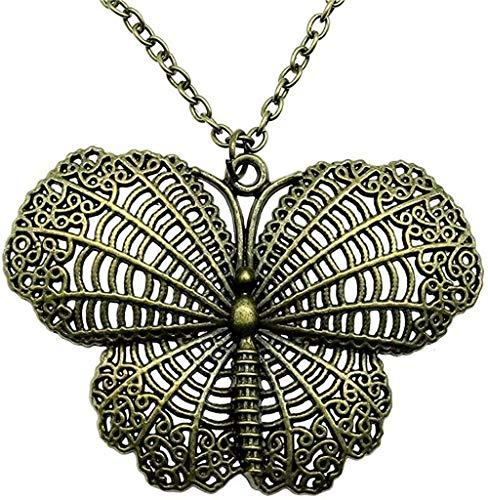 LKLFC Collar Mujer Collar Hombre Collar 67X48Mm Mariposa Colgante Collar 2 Colores Bronce Antiguo Color Plata Antiguo Collar Colgante Collar Niñas Niños Regalo