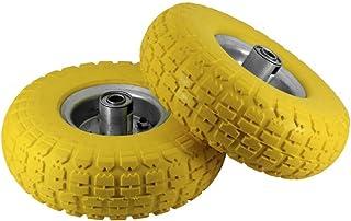 "2 x 10"" Sack Truck Hand Trolley Garden Cart Wheelbarrow Wheel Solid Rubber Tyre Tires, Yellow"