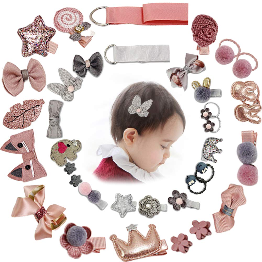 LSQ Baby Girl's Hair Clips Cute Hair Bows Baby Elastic Hair Ties Hair Accessories Ponytail Holder Hairpins Set Baby Girl Headbands for Baby Girl Toddler Assorted Styles(36 Pieces Pack) (Pink+Grey)