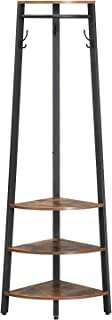 VASAGLE Industrial Corner Coat Rack, Coat Stand with Storage Shelves, Clothes Hanging Rail and Hooks, Space Saving in Hallway and Living Room, Study Metal Frame ULCR81X