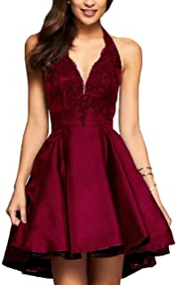 Yilis A line Satin with Lace Appliqued Halter Party Prom Dress Short Homecoming Dresses