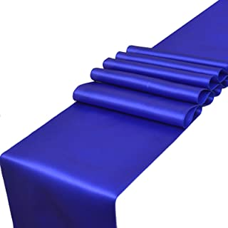 Parfair Dessin Pack of 10 Satin Table Runners 12 x 108 inch for Wedding Banquet Decoration, Bright Silk and Smooth Fabric Party Table Runner - Royal Blue