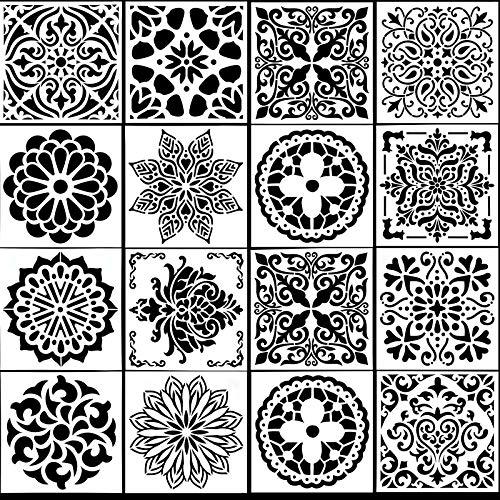 HQdeal 16 piezas 15 * 15cm Reutilizables Mandala Manualidades Painting Stencils cortadas Plantillas de Mandala con láser para Pintar Scrapbook Arte De Pared