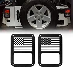 Extreme Off-Road Jeep Wrangler Taillights Covers Tail Light Guard Rear Light Cover Black America Flag Jeep Wrangler Accessories JK JKU & Unlimited Rubicon Sahara Sports,2007-2018 - Matte Black(2 Pc