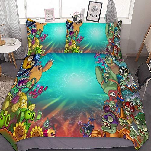 SfeatrutMAT Bedding Duvet Cover 2 Piece Set,Plants Vs Zombies,(63),Kids Girls Boys Cartoon Bed Set,Twin 55'x79'