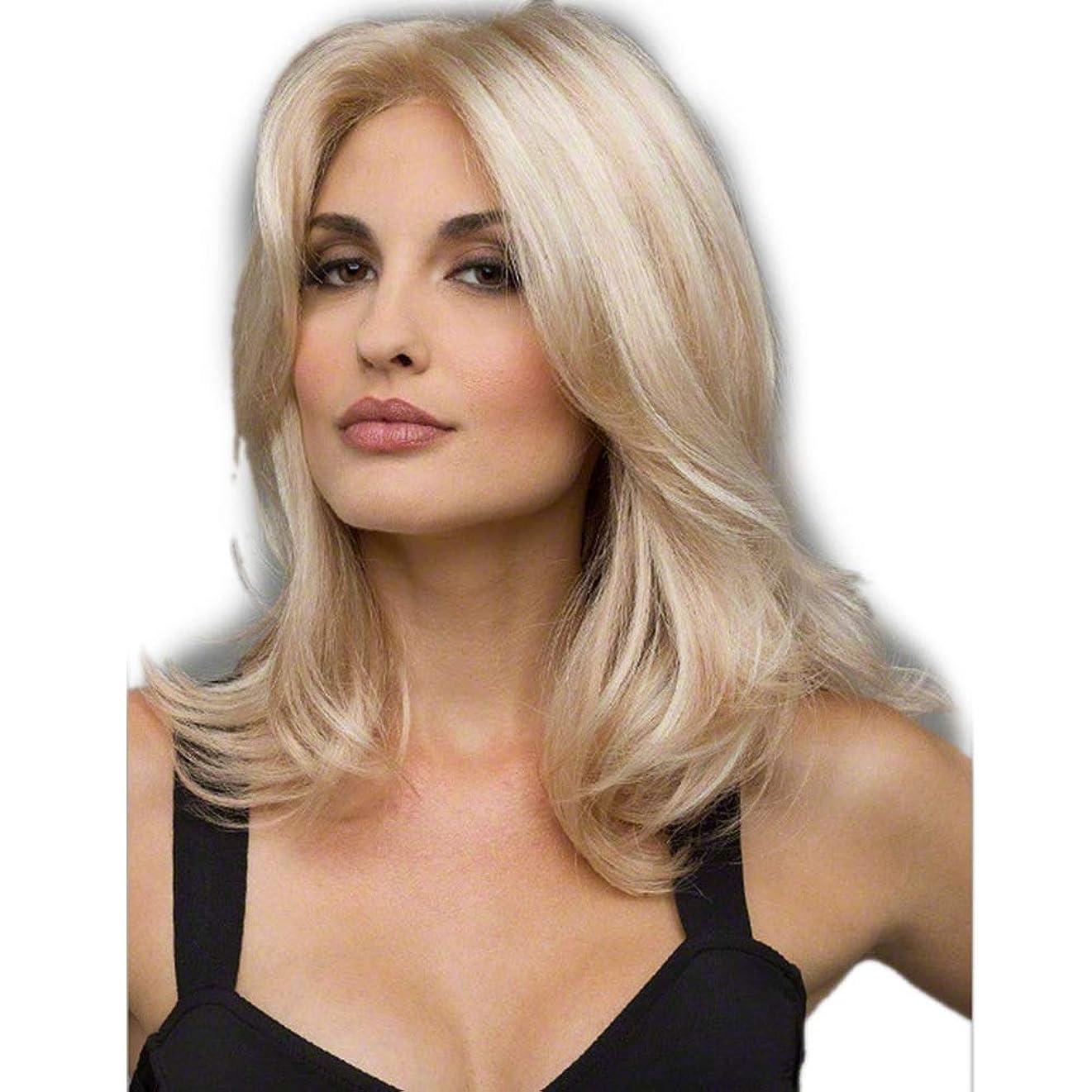 肘渇き発生器WASAIO ファッションオンブルブロンドかつら合成ロングストレートヘア (色 : Blonde)