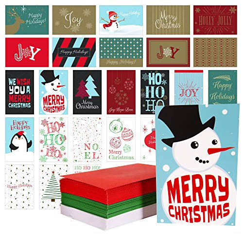 Red Robin Greetings Christmas Cards Bulk Box Set With Red,Green & White Envelopes; Blank Inside (108 Christmas Cards) Modern, Traditional, Great Variety of Holiday Cards