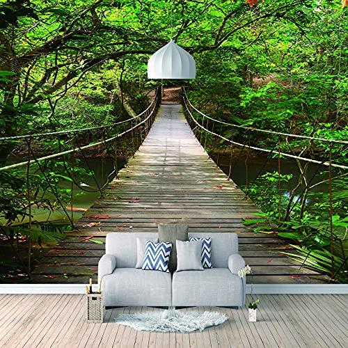 Fotos canvas muurschildering woonkamer - Sunshine Woods hangbrug - wandafbeeldingen 3D natuurlijk landschap muurschildering voor slaapkamer kantoor muurbehang fotobehang 300x210 cm - 6 strepen