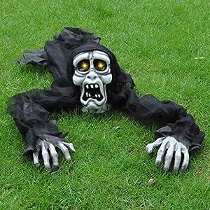 Halloween Zombie Trepador Romper-el-Suelo (Blanco) con Sonido Espeluznante y Ojos Iluminados para Decoración de Exteriores, Césped, Patio, Casa Encantada de Halloween