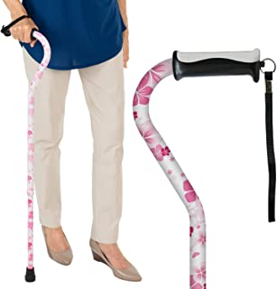 Vive Walking Cane - for Men & Women - Portable, Adjustable Offset Balance Stick - Lightweight & Sturdy Mobility Walker Aid for Arthritis, Elderly, Seniors & Handicap (White Floral)